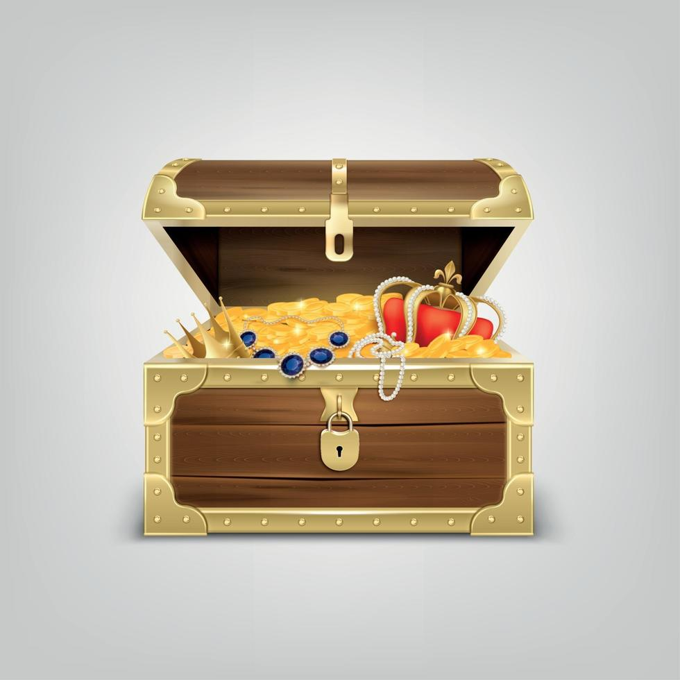 Realistic Treasure Chest Composition Vector Illustration