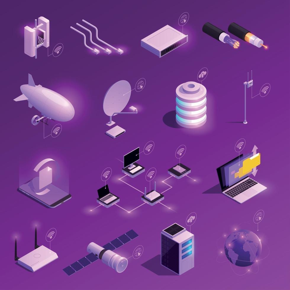 Global Network Isometric Icons Vector Illustration