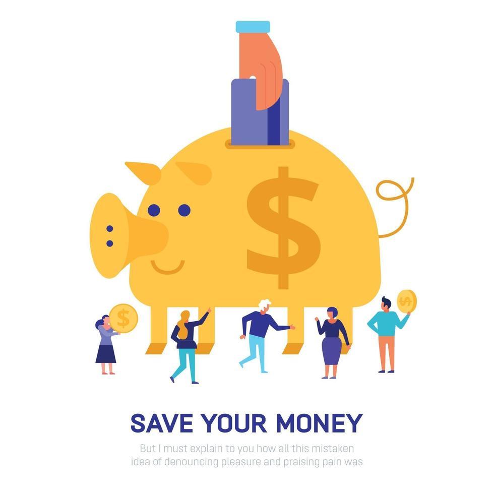 Money Savings Flat Illustration Vector Illustration