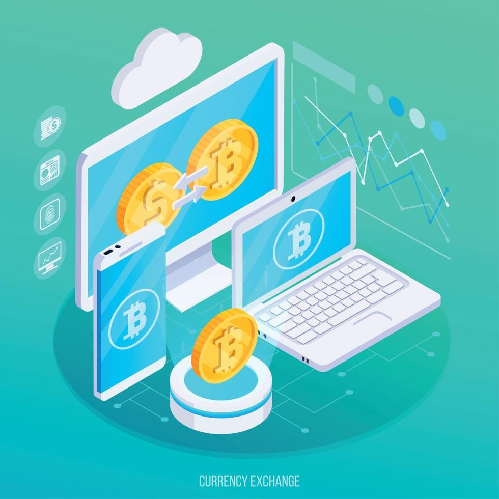 Currency Exchange Isometric Composition Vector Illustration