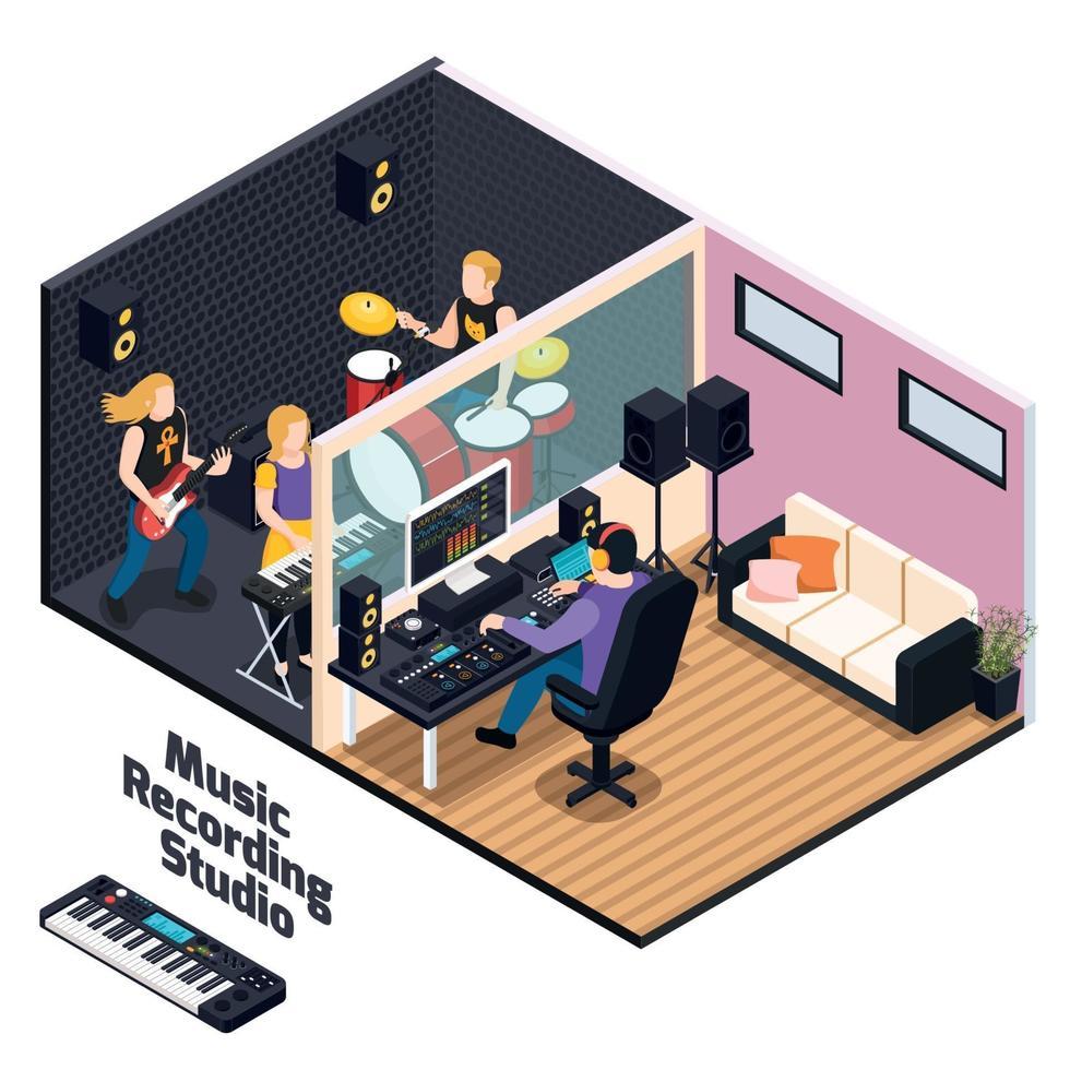 Music Recording Studio Isometric Composition Vector Illustration
