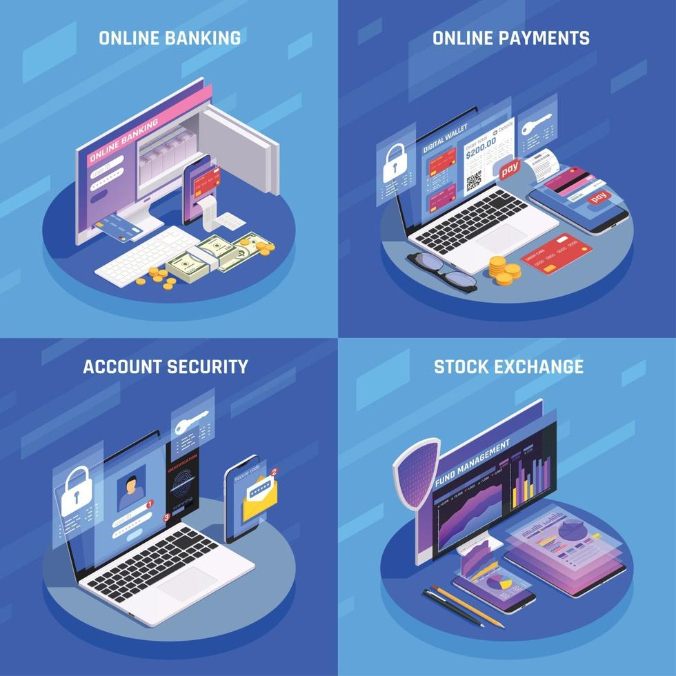 Online Banking Isometric Concept Vector Illustration