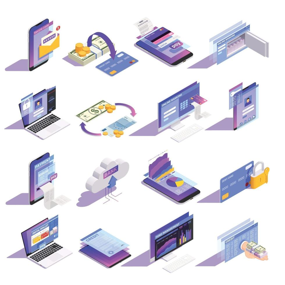 Online Banking Isometric Icons Vector Illustration