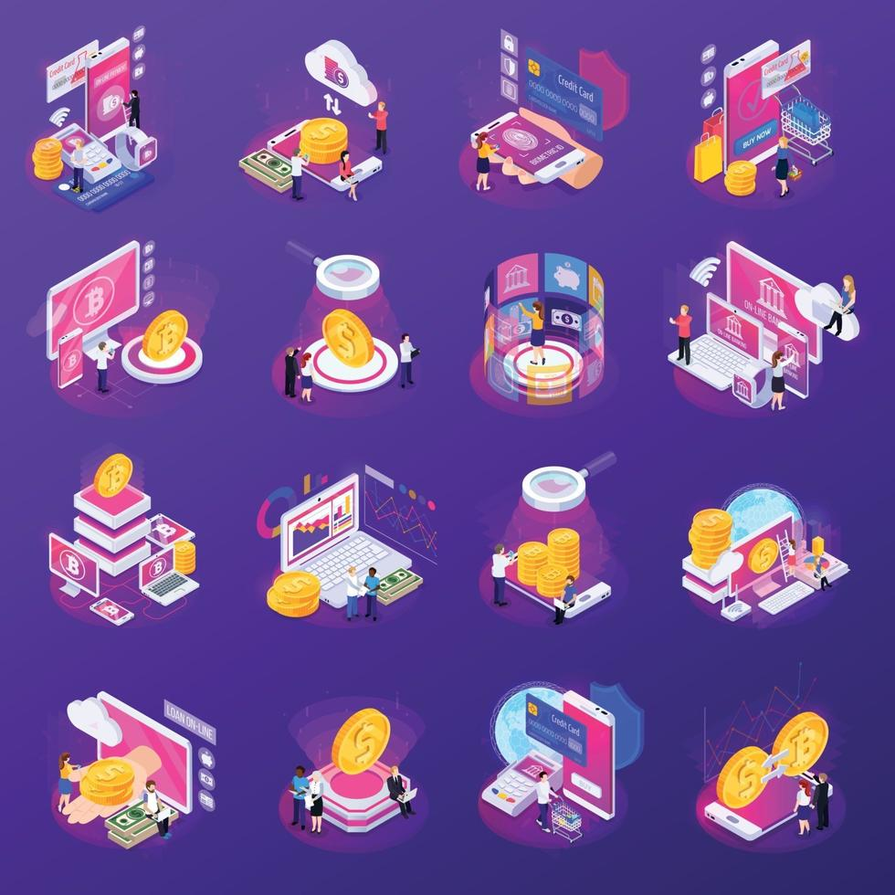 Financial Technology Glow Isometric Icons Vector Illustration