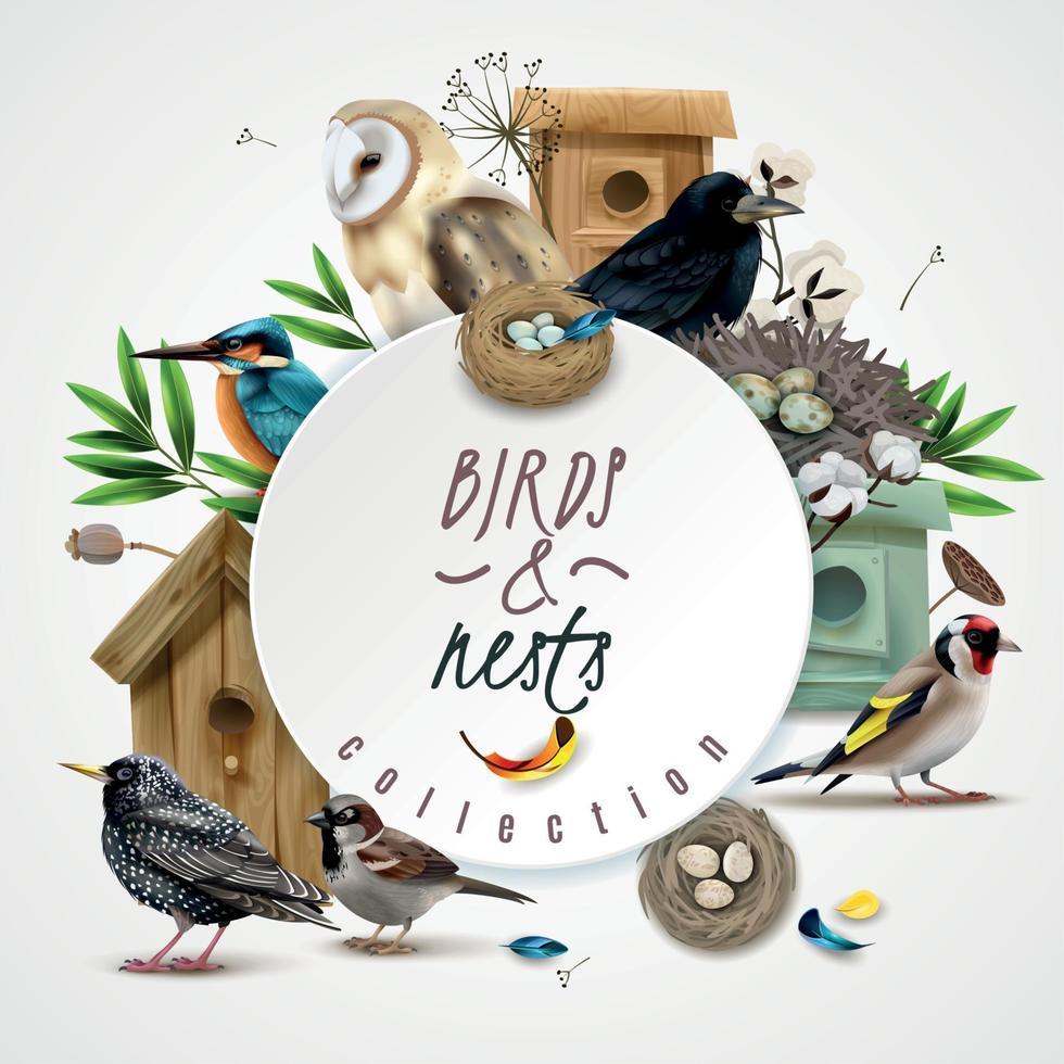 Birds Nests Round Composition Vector Illustration