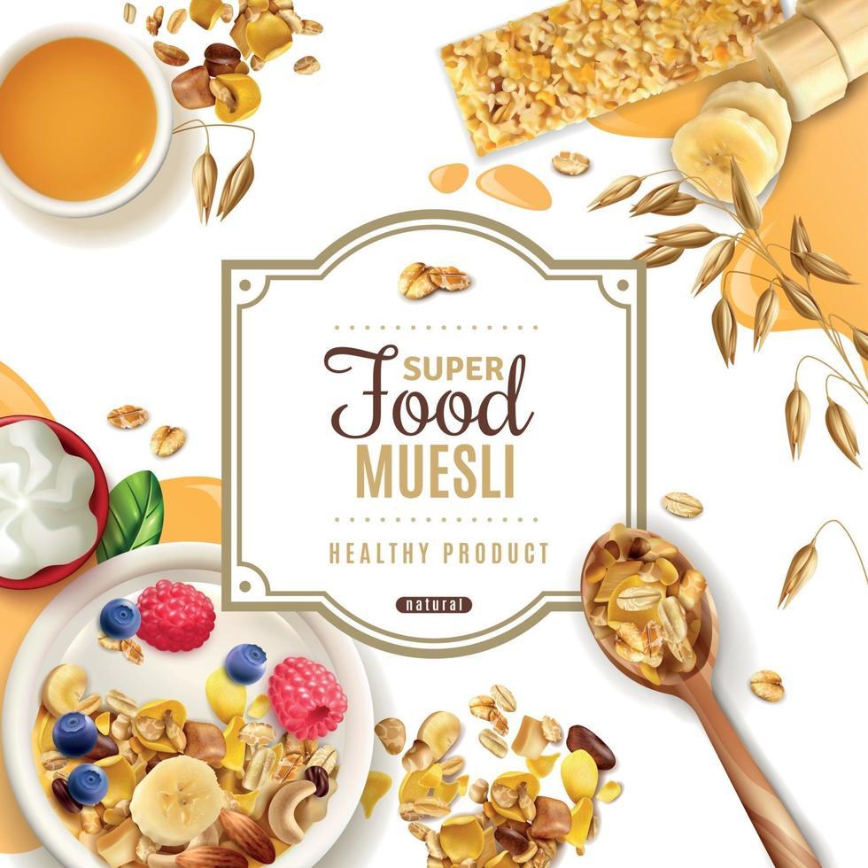Muesli Food Frame Composition Vector Illustration