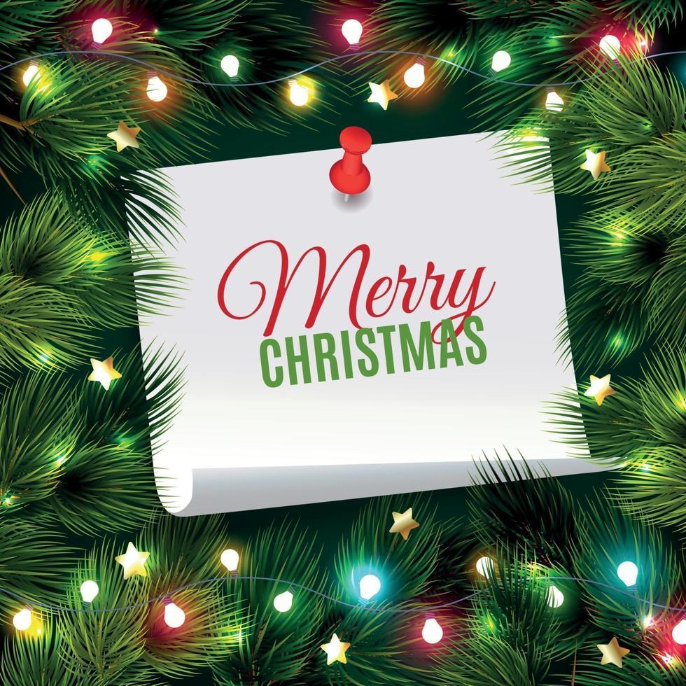 Fir Needle Christmas Background Vector Illustration