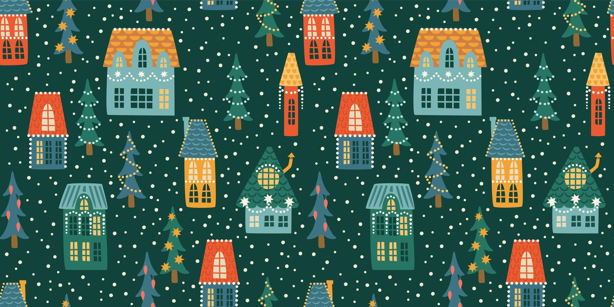 Christmas and Happy New Year seamless pattern. City, houses, Christmas trees, snow. New Year symbols. vector