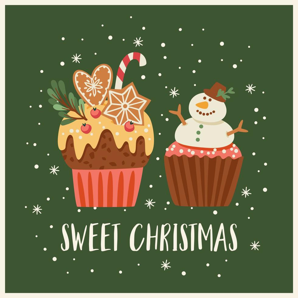 Christmas and Happy New Year illustration with christmas sweets. Vector design template.