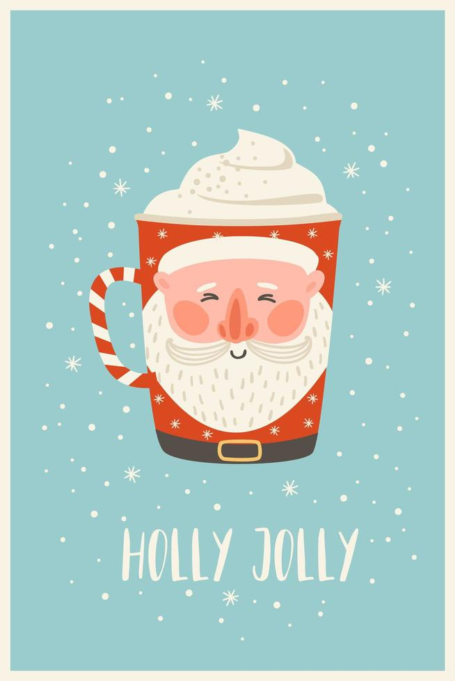 Christmas and Happy New Year illustration with christmas drink. Vector design template.