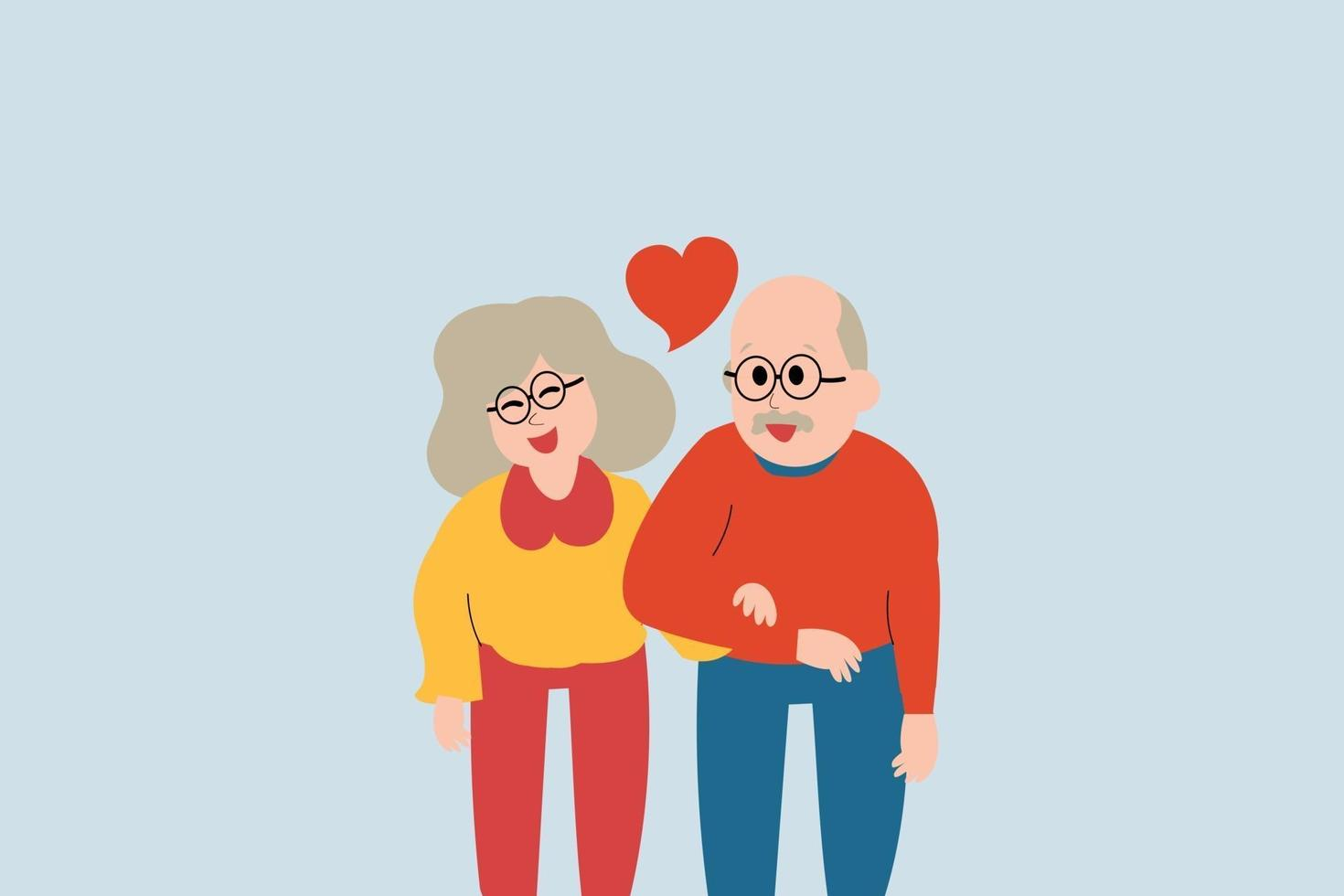 Flat design character of elderly married couple. cute husband and wife love and hold hands to each other. medical care of mature people concept. Insurance of old people and assistance. vector