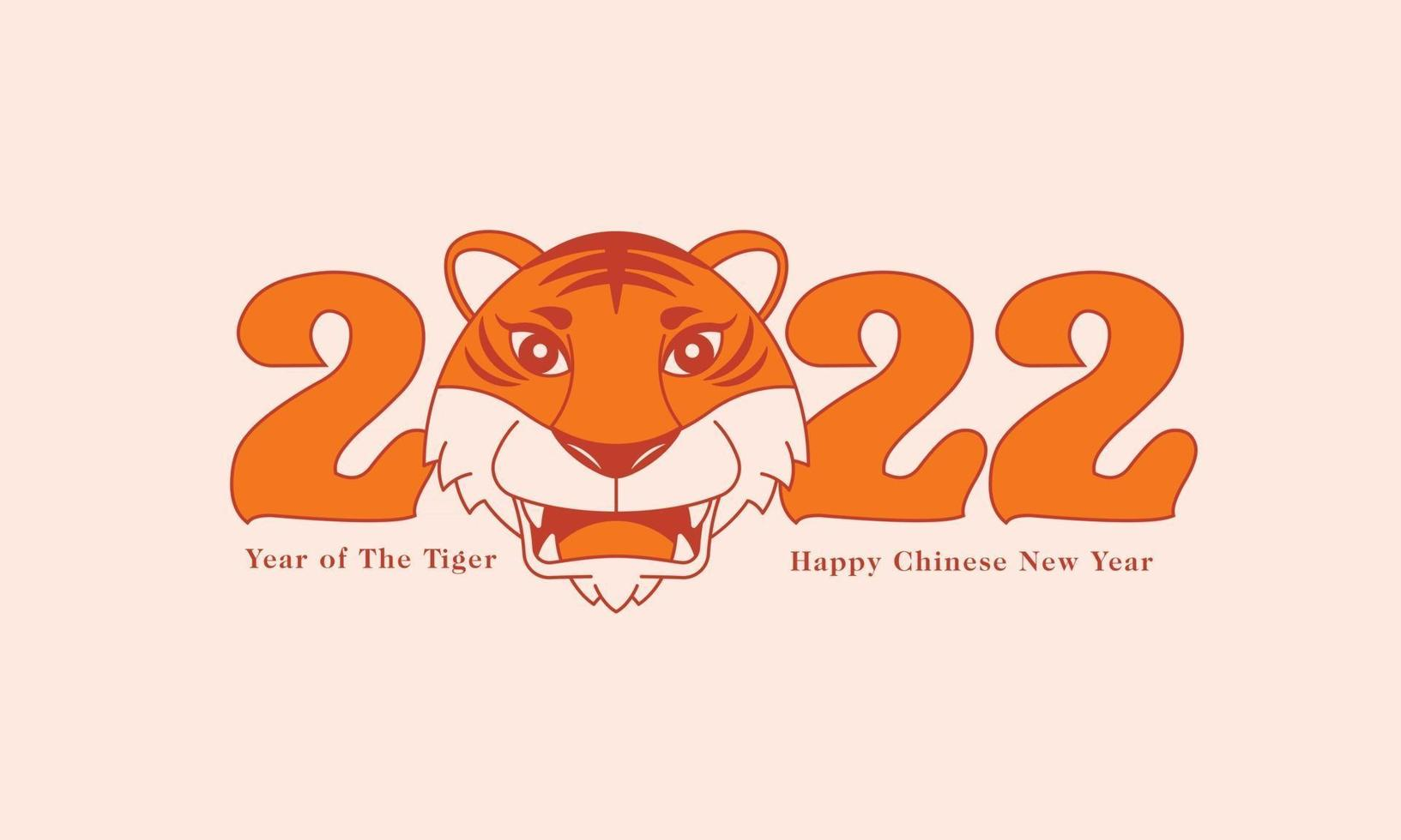 Happy Chinese New Year 2022. Symbolic Tiger head on 2022 lunar calendar year of the Tiger. vector