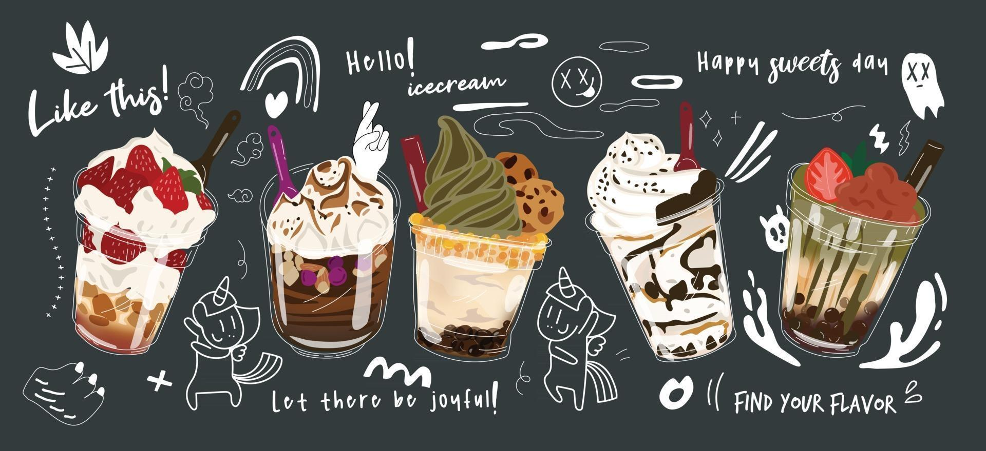 Bubble milk tea Special Promotions design, Boba milk tea, Pearl milk tea , Yummy drinks, coffees and soft drinks with logo and cute funny doodle style advertisement banner. Vector illustration.