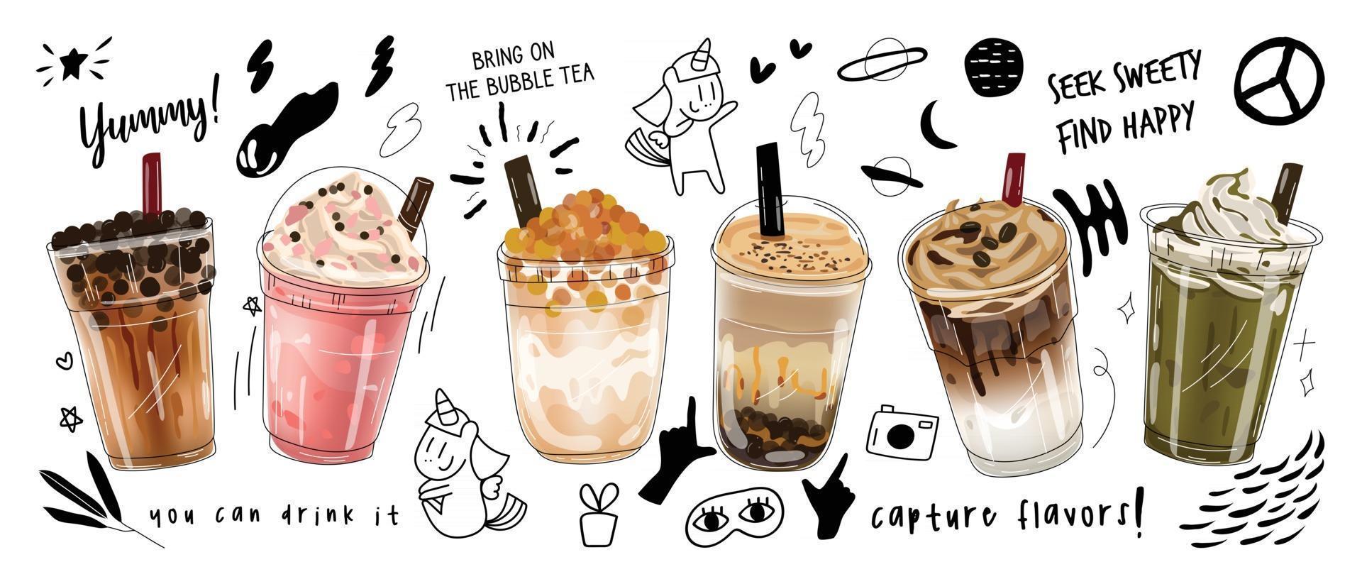 diseño de promociones especiales de bubble milk tea, boba milk tea, pearl milk tea, deliciosas bebidas, cafés y refrescos con logo y un lindo y divertido banner publicitario estilo doodle. ilustración vectorial. vector