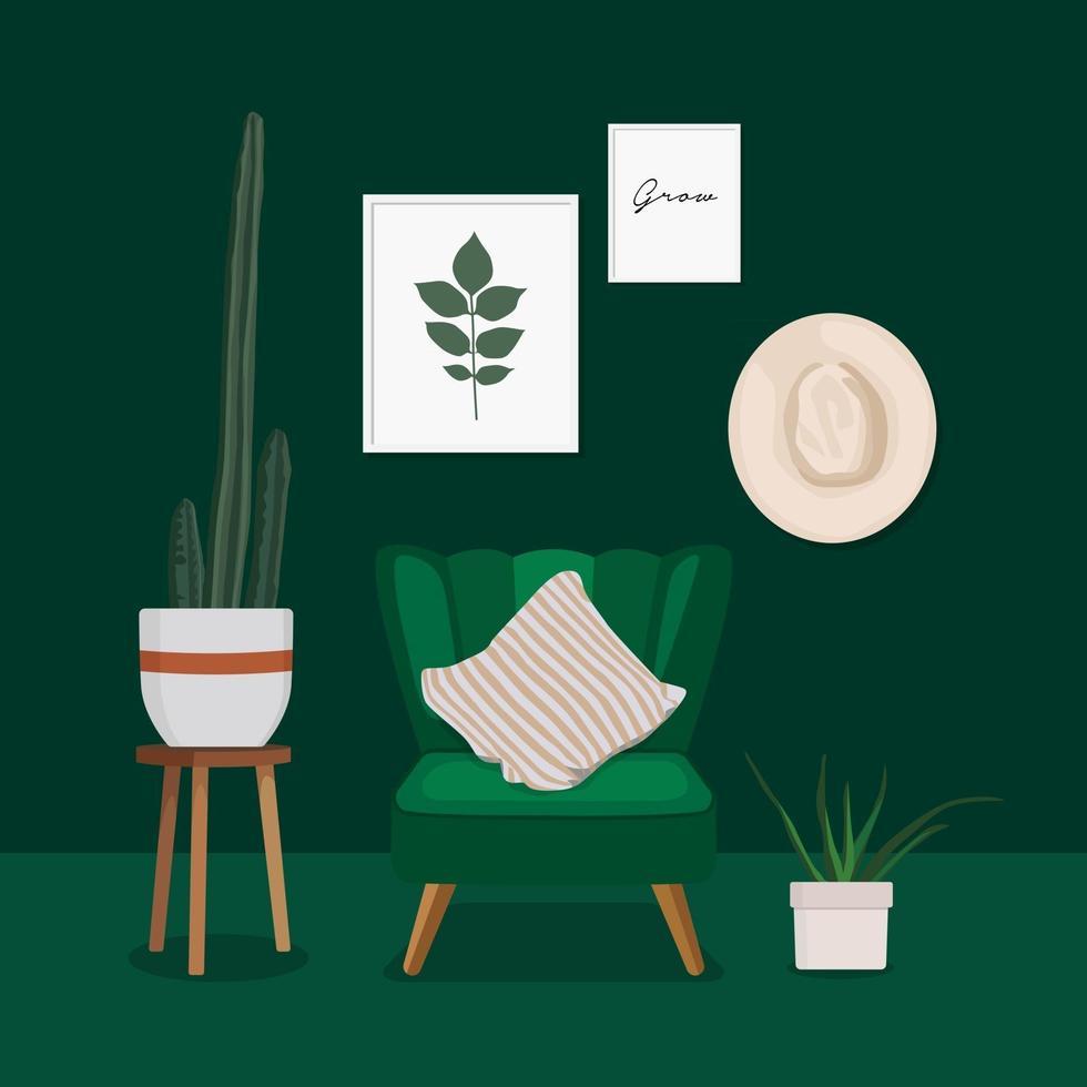 Scandinavian living room interior design. vector