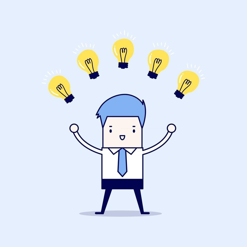 Businessman with many new ideas. Business concept. Cartoon character thin line style vector. vector