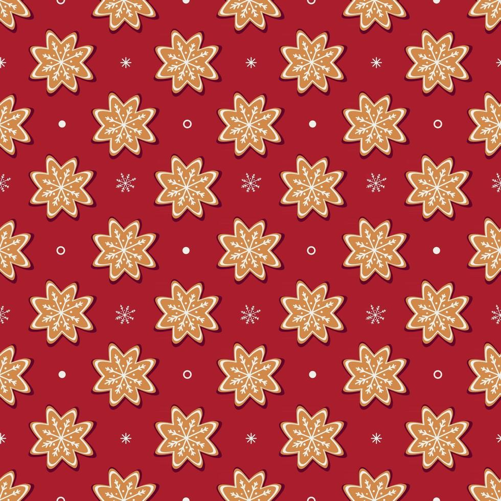 Seamless vector pattern of traditional gingerbread cookies and small white snowflakes on red background