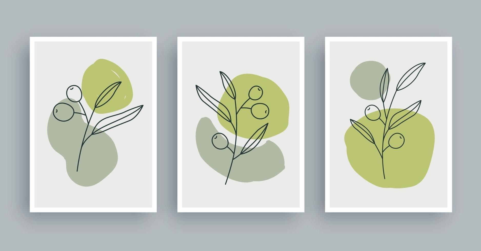 olive branch botanical wall art painting background. Foliage art and hand drawn line with abstract shape. Mid century scandinavian nordic style. vector