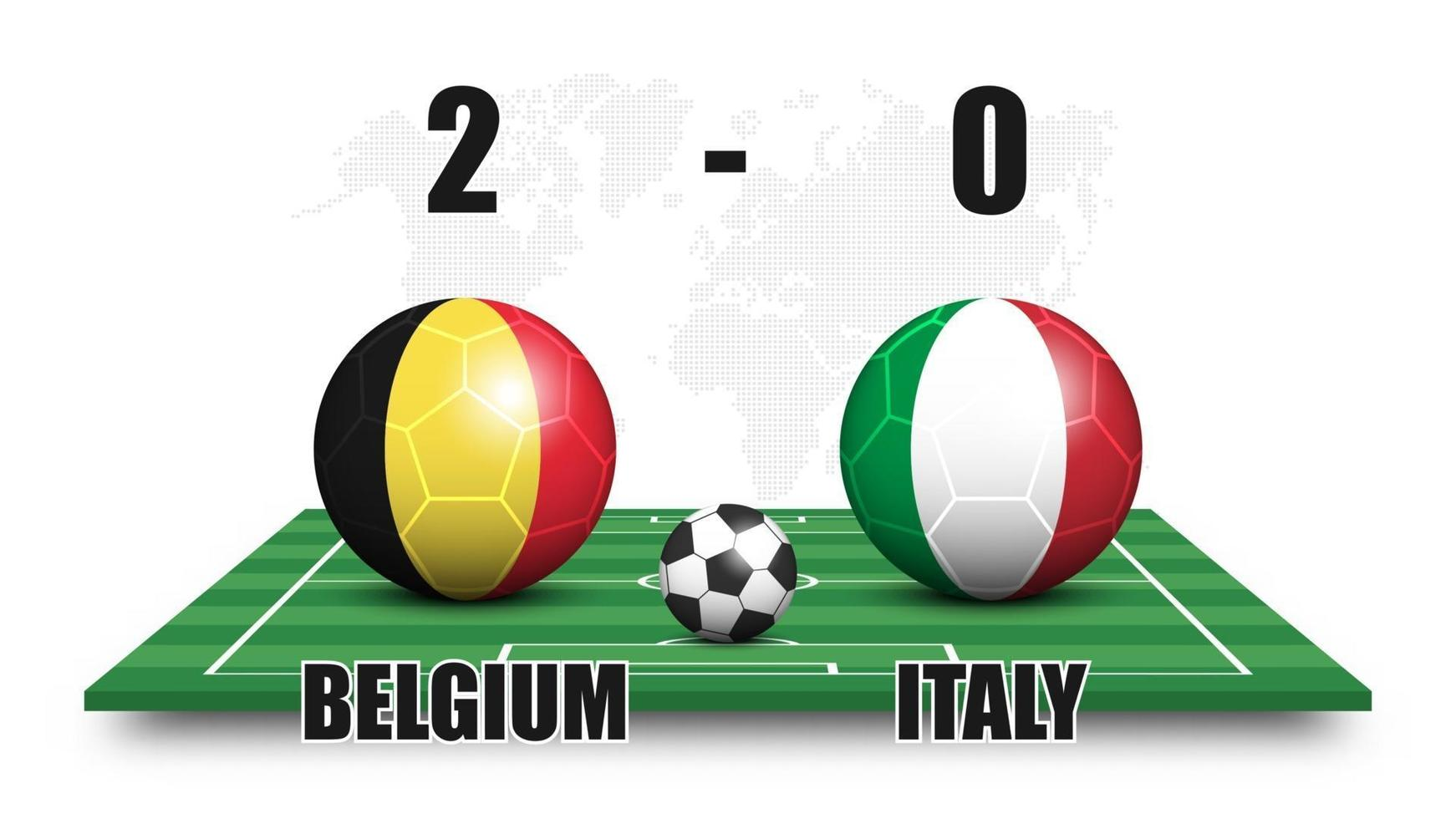 Belgium vs Italy. Soccer ball with national flag pattern on perspective football field. Dotted world map background. Football match result and scoreboard. Sport cup tournament. 3D vector design.