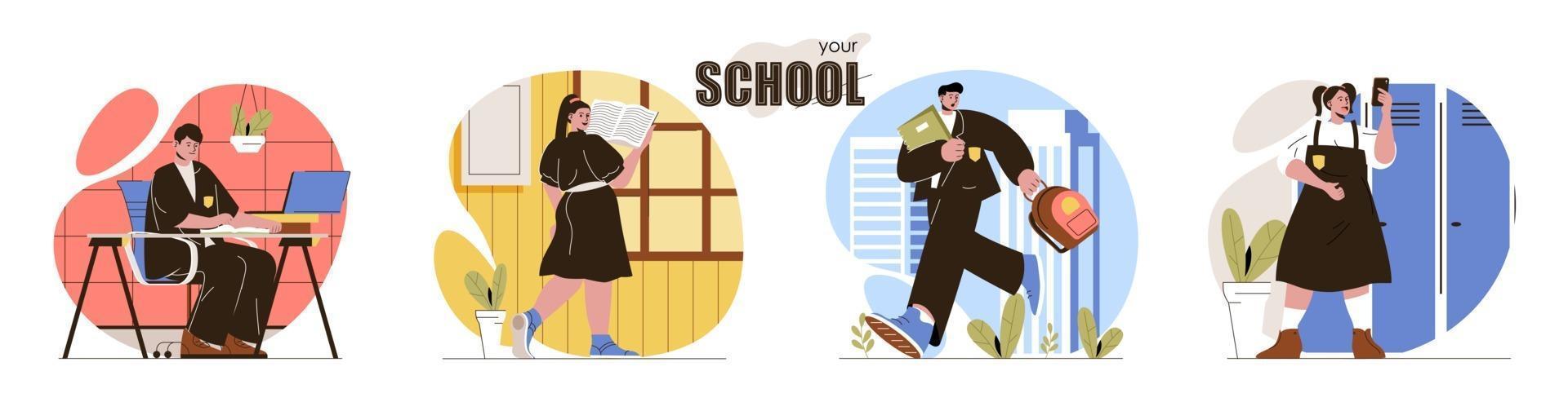 Your School concept scenes set vector