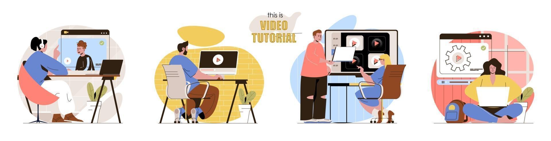 This is Video Tutorial concept scenes set vector