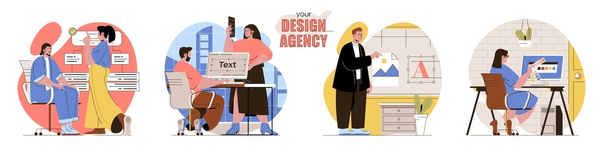 Your Design Agency concept scenes set vector