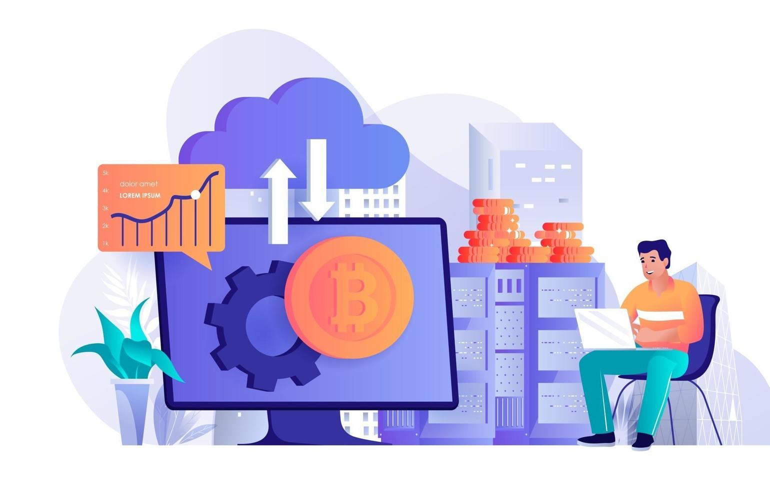Cryptocurrency technology concept in flat design vector