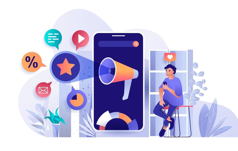 Mobile marketing concept in flat design vector