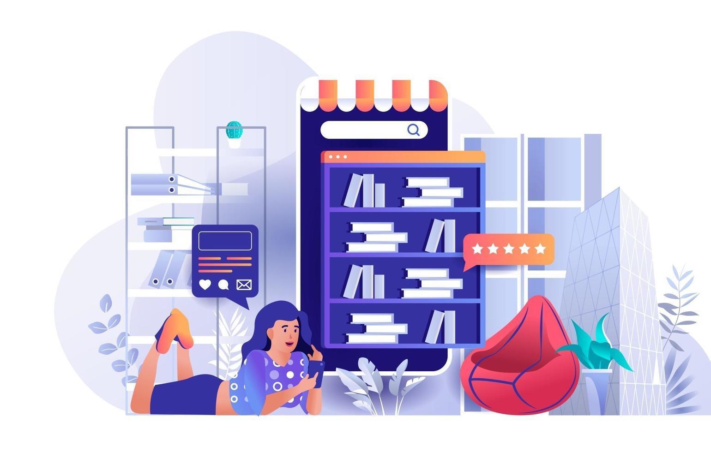 Online library concept in flat design vector
