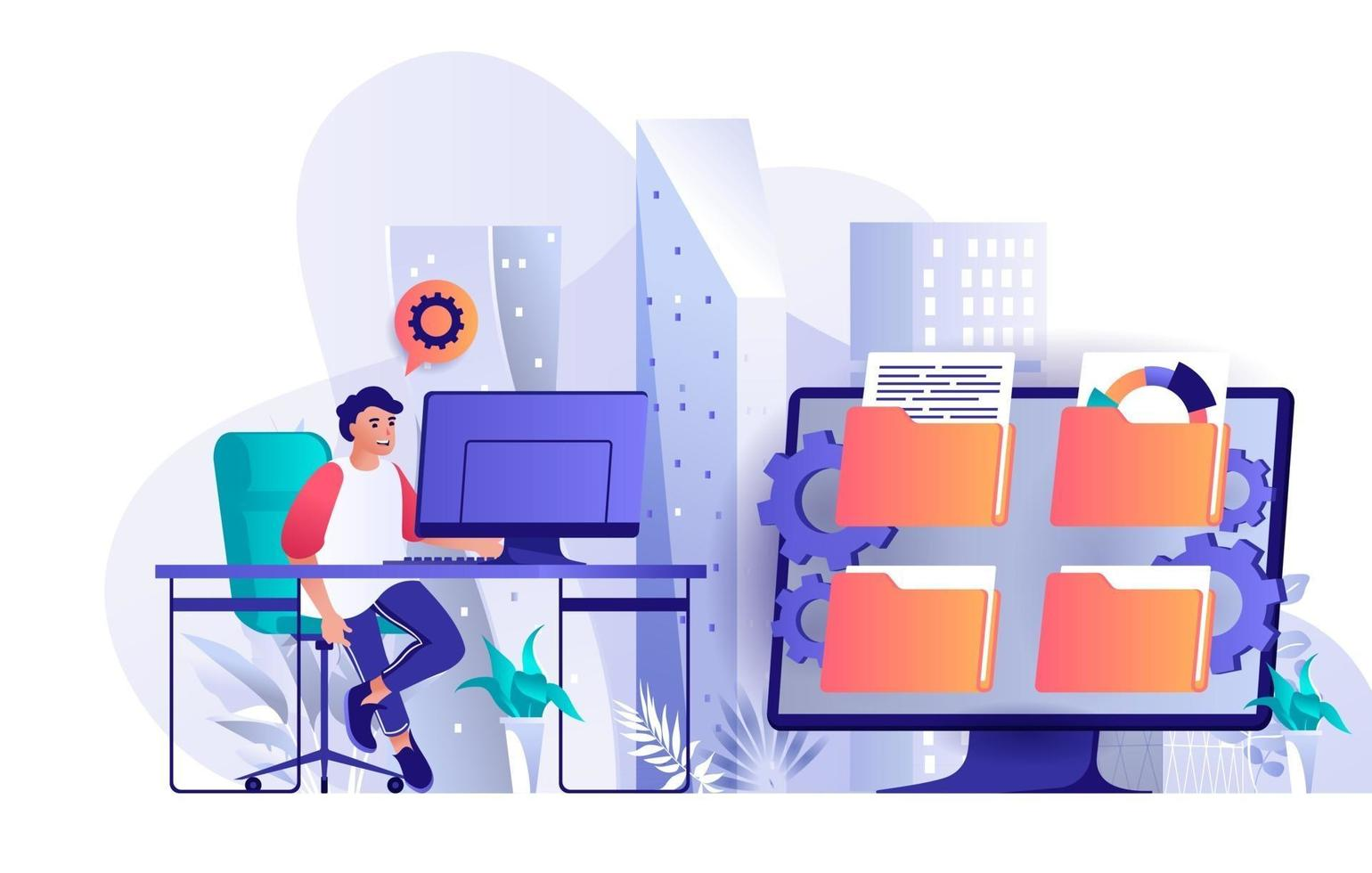 Cyberspace management concept in flat design vector