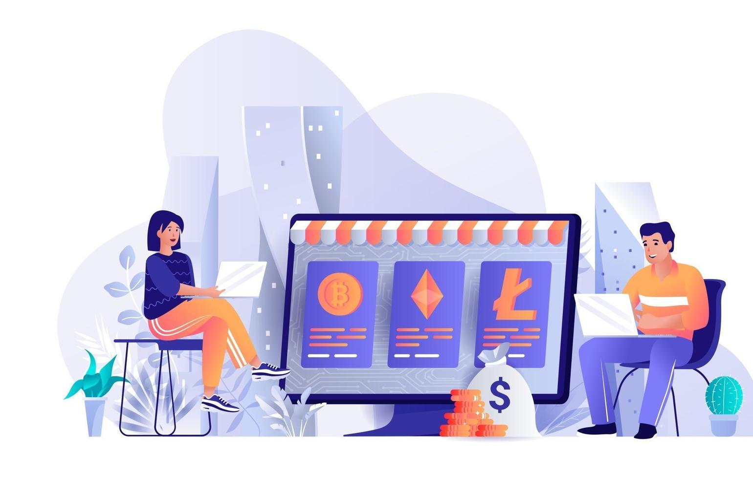 Cryptocurrency marketplace concept in flat design vector
