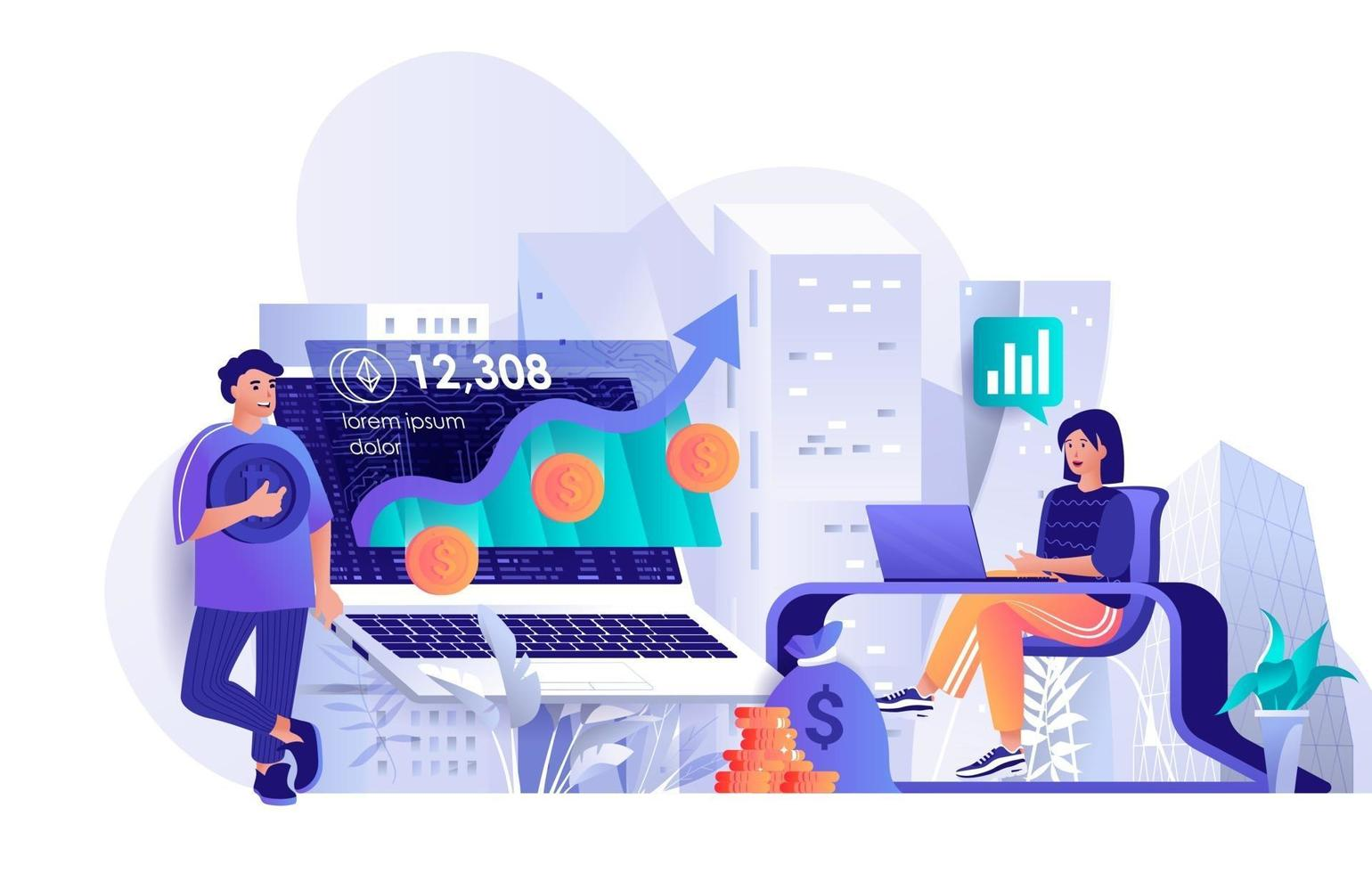 Cryptocurrency investment concept in flat design vector