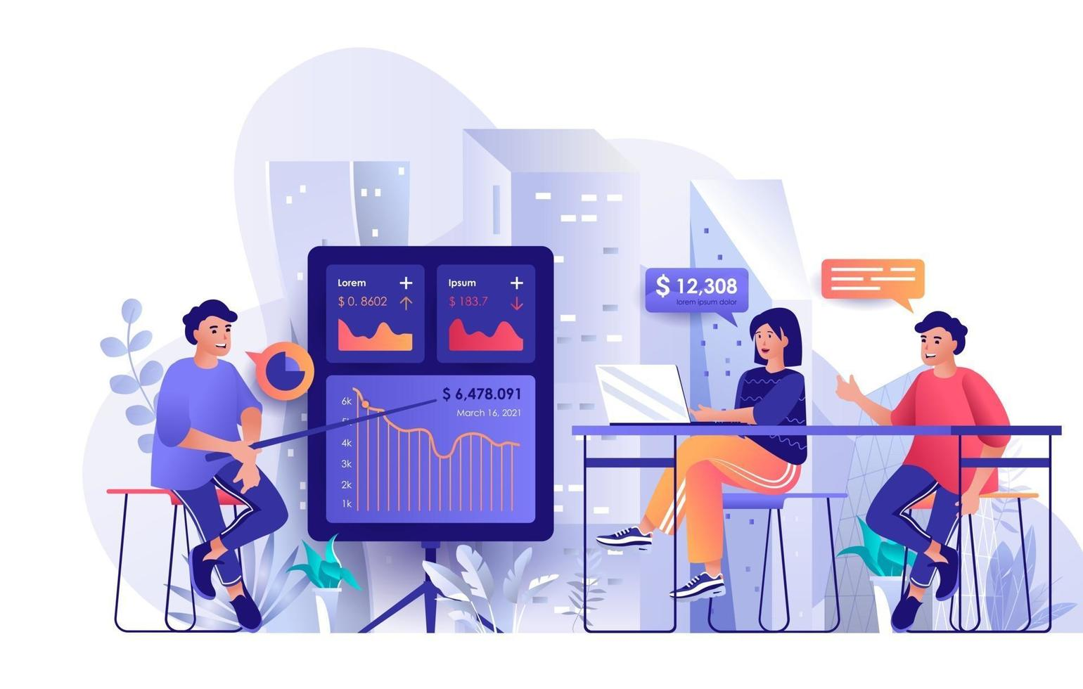 Business training concept in flat design vector