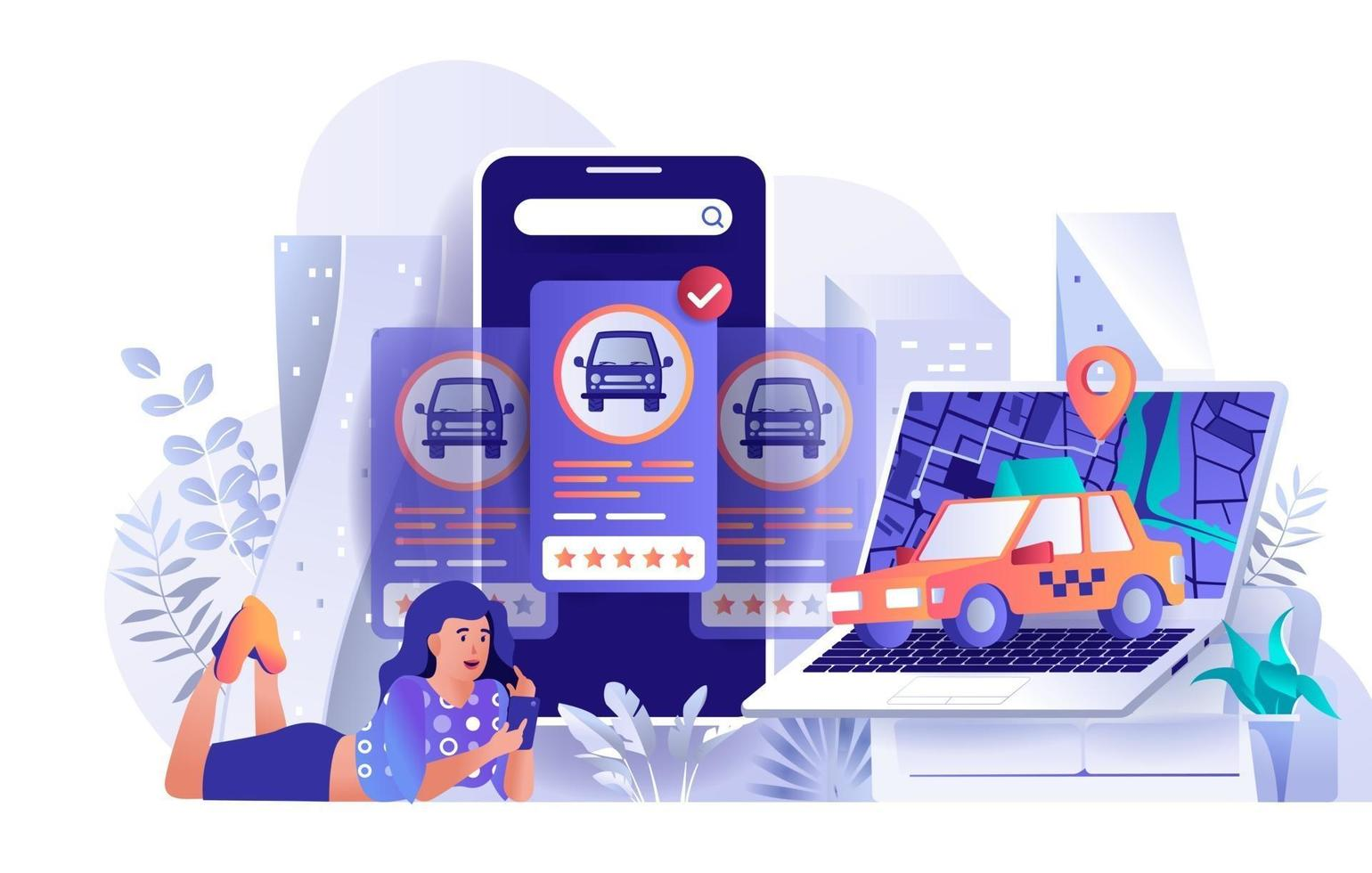Taxi booking concept in flat design vector
