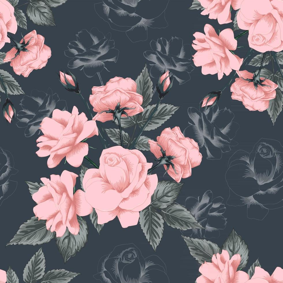 Seamless pattern beautiful pink Rose flowers vintage abstract background. Vector illustration hand drawing line art.
