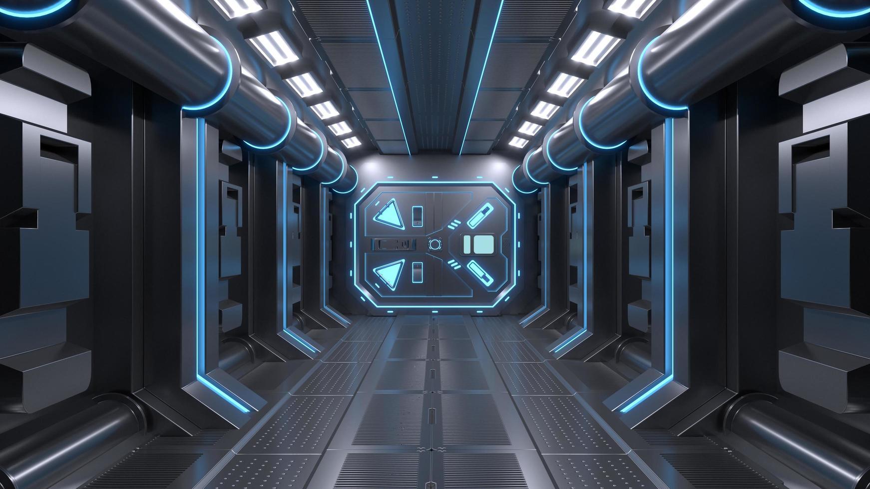 Science background fiction interior room sci-fi spaceship corridors blue photo
