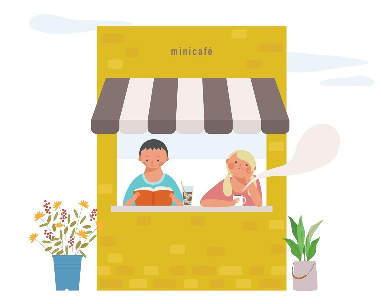 Two couples are reading a book and drinking coffee in a small cafe. vector design illustrations.