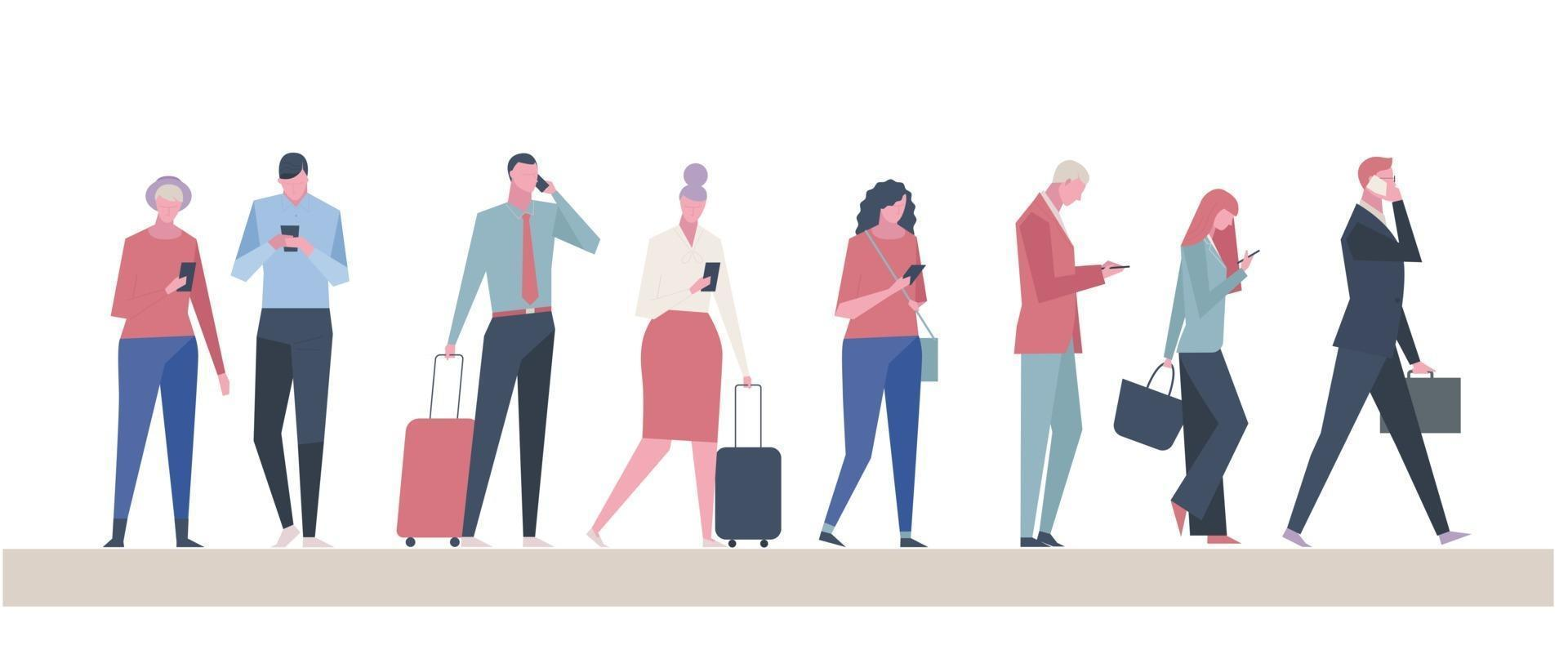 Many people using cell phones. vector design illustrations.