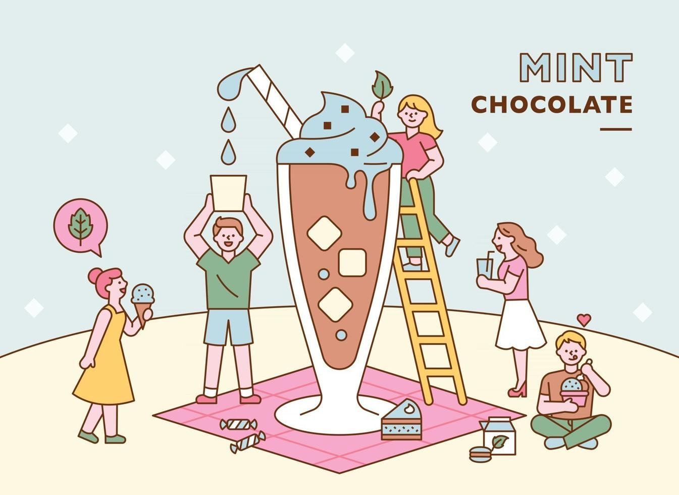 People are making a giant mint chocolate drink together. flat design style minimal vector illustration.