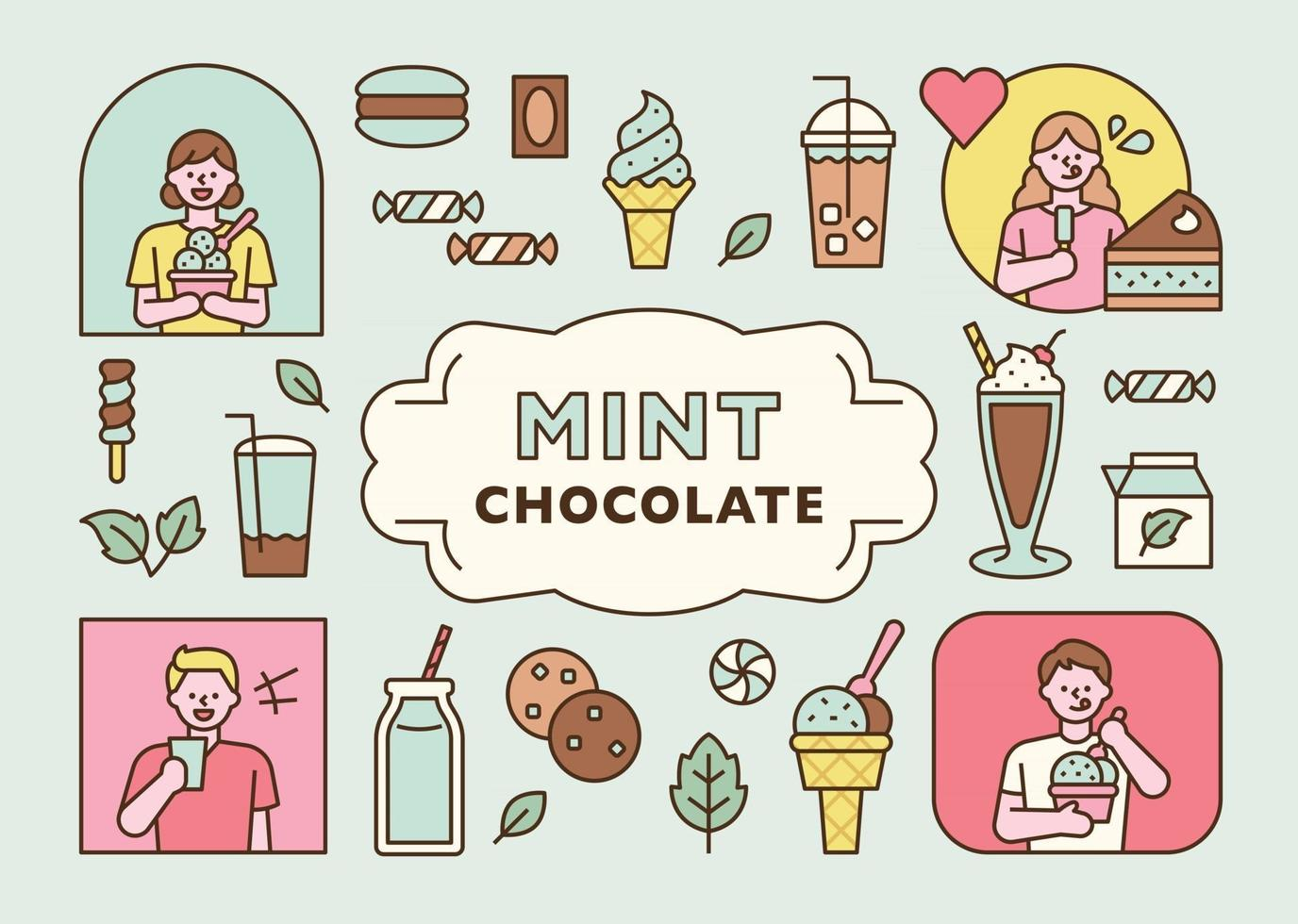 Various mint flavored dessert icons and people enjoying them. flat design style minimal vector illustration.