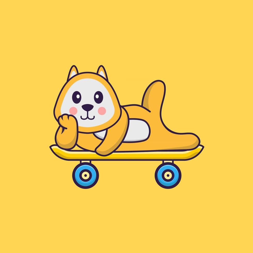 Cute dog lying on a skateboard. Animal cartoon concept isolated. Can used for t-shirt, greeting card, invitation card or mascot. Flat Cartoon Style vector