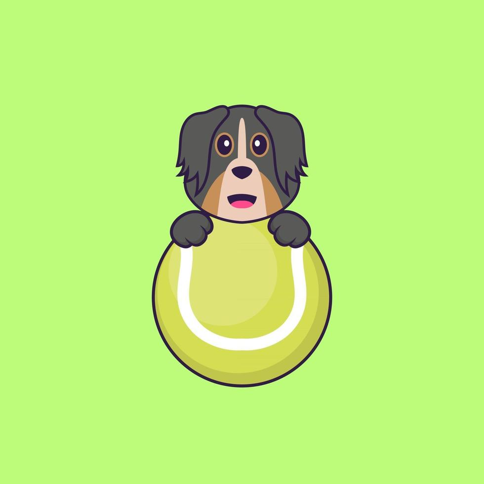 Cute dog playing tennis. Animal cartoon concept isolated. Can used for t-shirt, greeting card, invitation card or mascot. Flat Cartoon Style vector