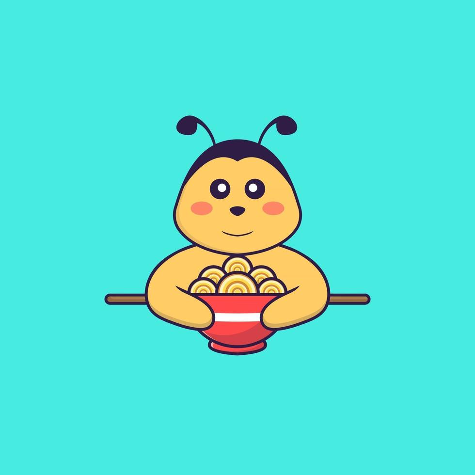 Cute bee eating ramen noodles. Animal cartoon concept isolated. Can used for t-shirt, greeting card, invitation card or mascot. Flat Cartoon Style vector