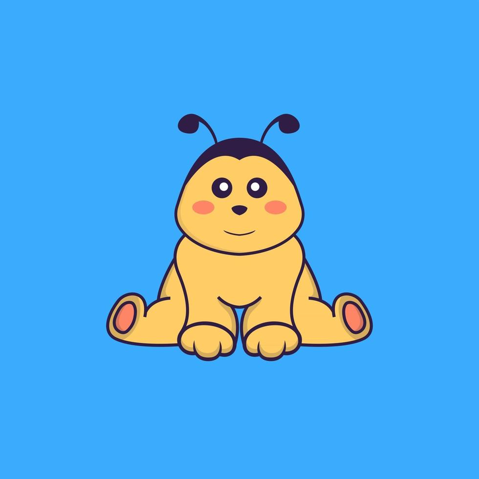 Cute bee is sitting. Animal cartoon concept isolated. Can used for t-shirt, greeting card, invitation card or mascot. Flat Cartoon Style vector