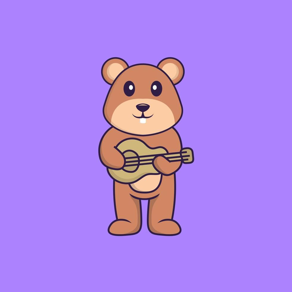 Cute squirrel playing guitar. Animal cartoon concept isolated. Can used for t-shirt, greeting card, invitation card or mascot. Flat Cartoon Style vector