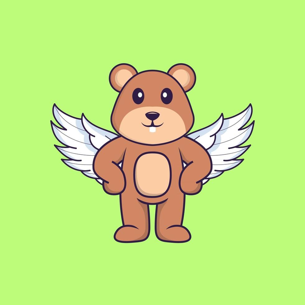 Cute squirrel using wings. Animal cartoon concept isolated. Can used for t-shirt, greeting card, invitation card or mascot. Flat Cartoon Style vector
