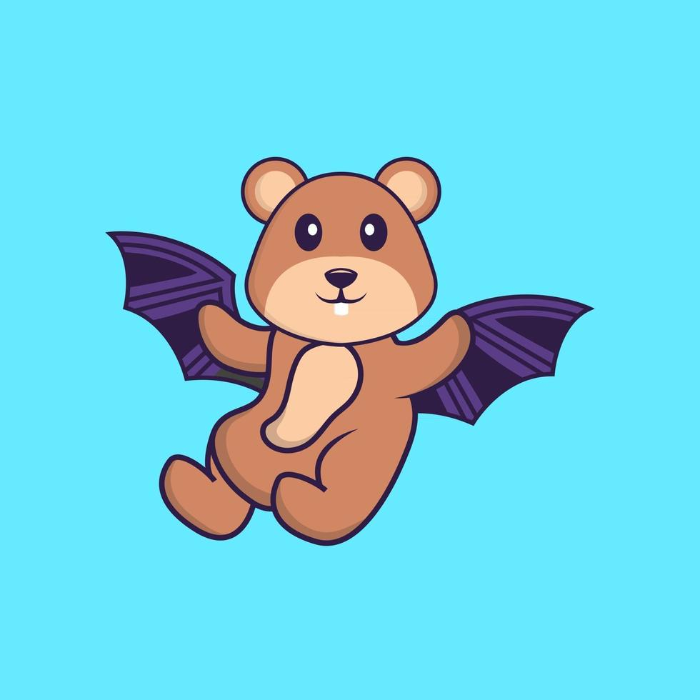 Cute squirrel is flying with wings. Animal cartoon concept isolated. Can used for t-shirt, greeting card, invitation card or mascot. Flat Cartoon Style vector