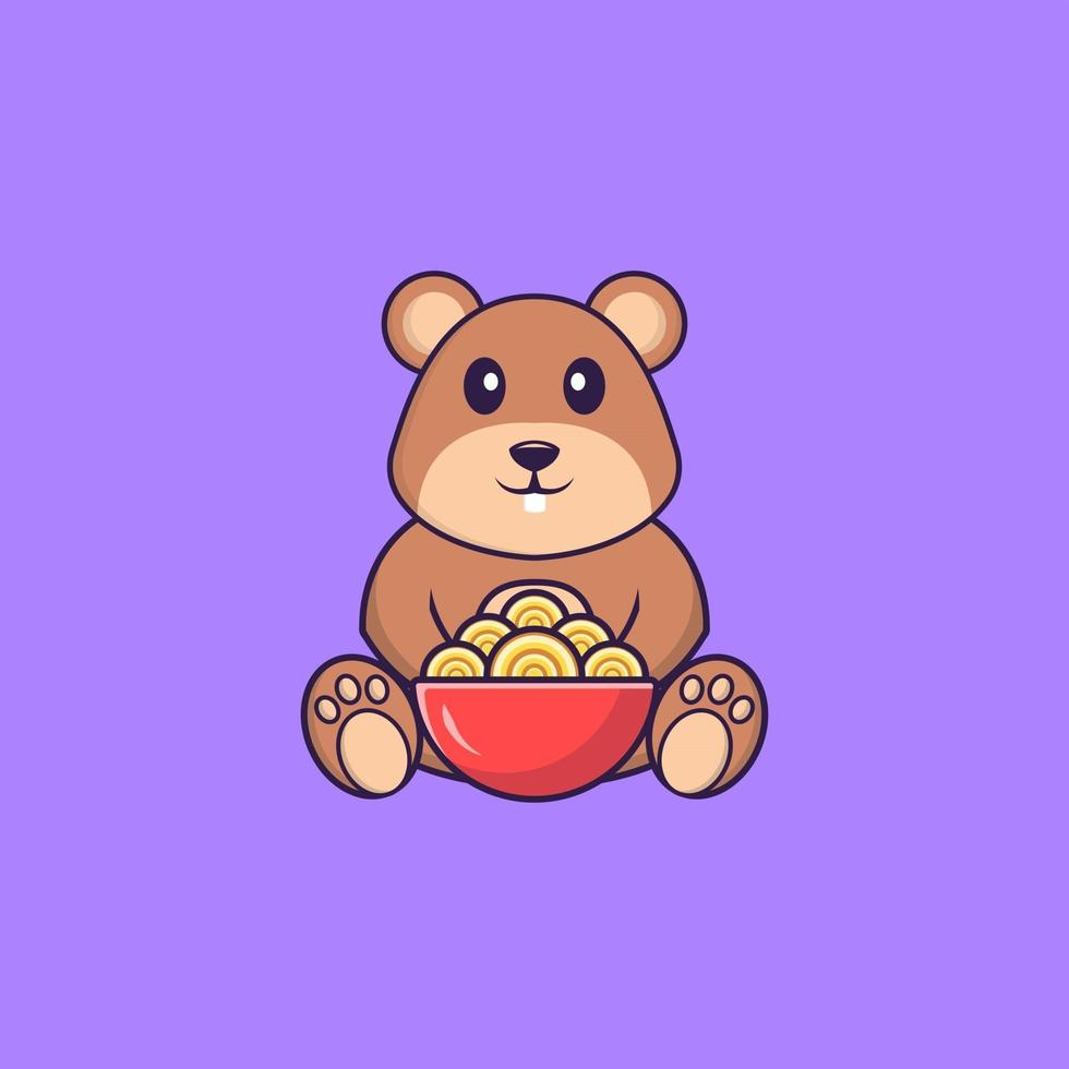 Cute squirrel eating ramen noodles. Animal cartoon concept isolated. Can used for t-shirt, greeting card, invitation card or mascot. Flat Cartoon Style vector