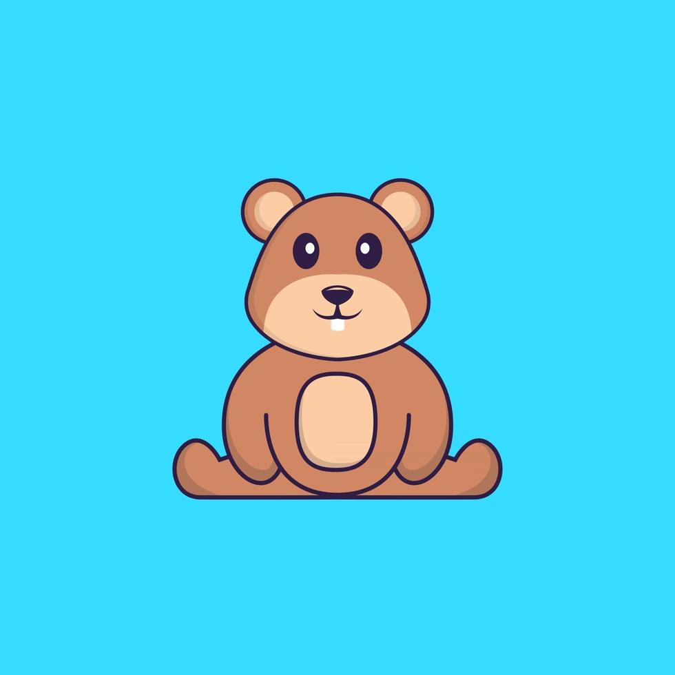 Cute squirrel is sitting. Animal cartoon concept isolated. Can used for t-shirt, greeting card, invitation card or mascot. Flat Cartoon Style vector