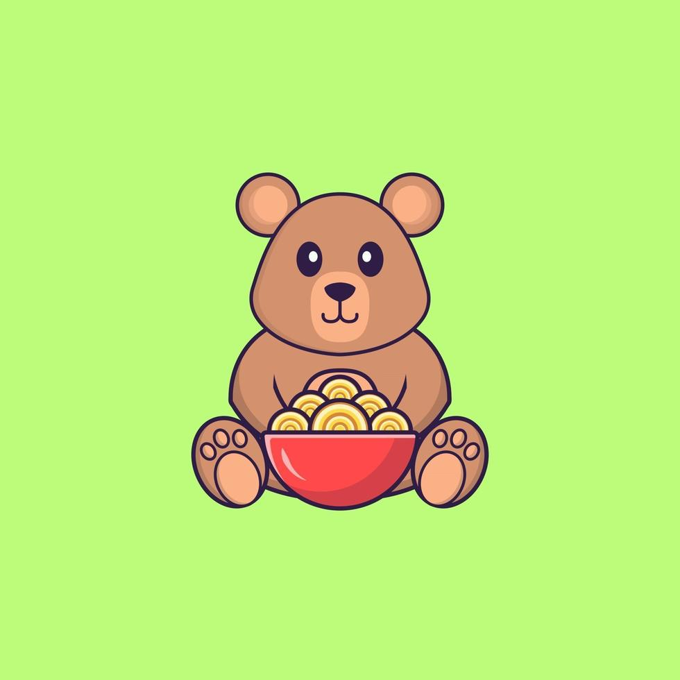 Cute rat eating ramen noodles. Animal cartoon concept isolated. Can used for t-shirt, greeting card, invitation card or mascot. Flat Cartoon Style vector